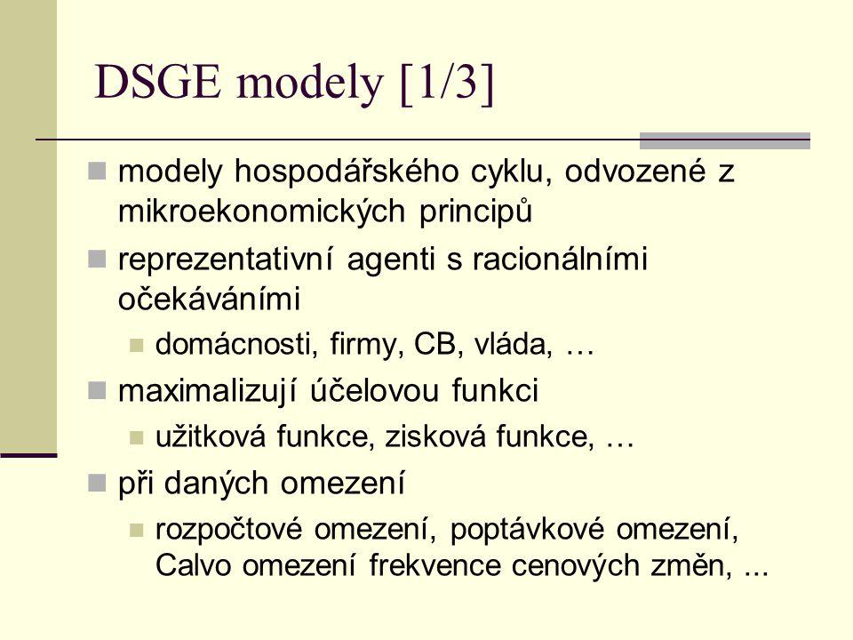 DSGE modely [1/3] modely hospodářského cyklu, odvozené z mikroekonomických principů. reprezentativní agenti s racionálními očekáváními.